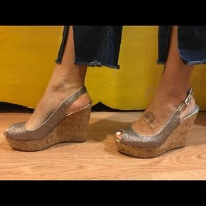 Guess sparkle wedges size 7.5